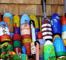 Lobster Buoys by Monika Fuchs