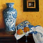 Still life with Chinese vase and two quinces by pucci ferraris