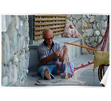 Fisherman fixing net in Monterosso, Cinque Terre, Italy Poster