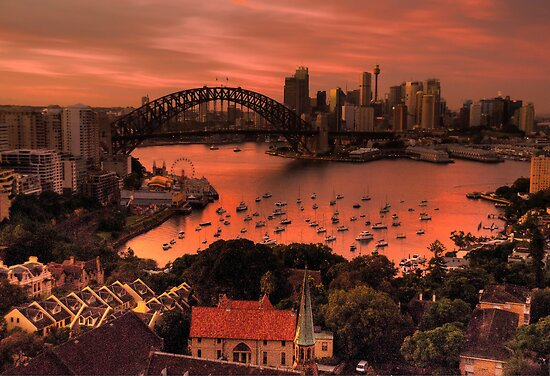 Red Sky In The Morning - Moods of A City - The HDR Experience by Philip Johnson