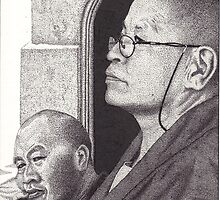 Buddhist Monk & Nun, Mahabodhi Temple, Bodhgaya, Bihar, India, Ink Drawing by RIYAZ POCKETWALA