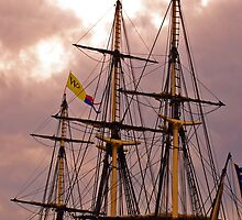 Tall Ship at Sunset by Kenric A. Prescott