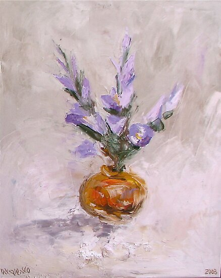 Violet flowers in vase by Stella  Shube As