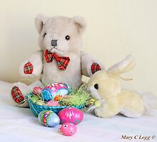 Yellow Easter Bunny brings Erasmus Bear Easter Eggs by pogomcl