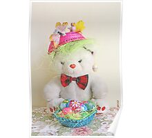 Fatso Bear with an Easter basket Poster