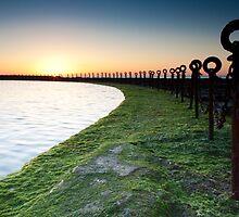 Golden Sunrise, Ocean Chains Newcastle Beach by Mookyart