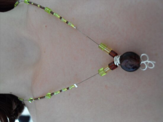 Jammin Necklace Brown, Green n Yellow 1 by sylversorceress