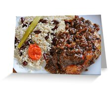 Caribbean Jerk Chicken with Rice and Peas Greeting Card