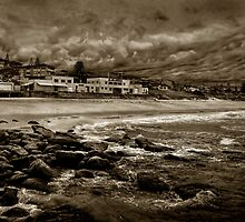 Curl Curl Beach in Sepia by Dianne English