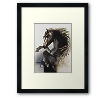 """Black Fury"" Painting in Oils Framed Print"