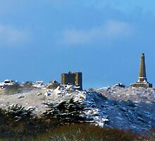 Snow on carn brea by diamondphoto