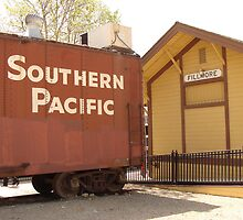 Southern Pacific car and train station by Linda Scott