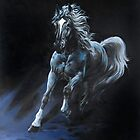 &quot;White Stallion&quot; Oil on Canvas by Sara Moon
