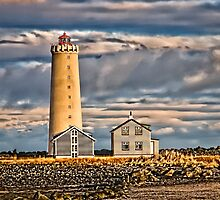 Grotta Lighthouse near Reykjavik Iceland  by Peter Thorpe