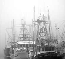 Steveston Fishing Boats In The Fog by ClaytonPerry