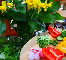 daffodils and salad by TerrillWelch
