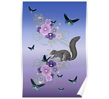 Playful Squirrel and the Butterflies Poster