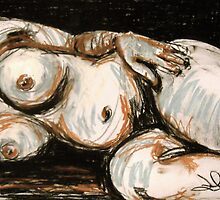 Reclining Nude 3 Pastel by Deb Miller