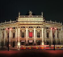 Vienna theater in night lights,Austria by leksele