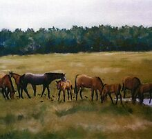 Mares and Foals Horse Pastel Painting by Charlotte Yealey