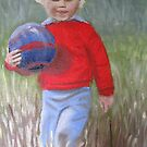 Boy with a ball  by Tash  Luedi Art