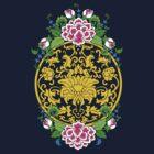 Lotus Medallion with Peonies by mingtees