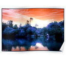 Surreal Sunset Boathouse Poster