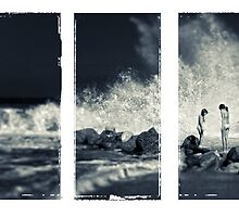 Big wave triptych by Silvia Ganora