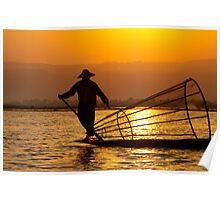 Golden Light On Inle Lake Poster