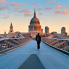 UK, London, St. Paul's Cathedral and Millennium Bridge over River Thames   Alan Copson © 2010 (20038-06) by Alan Copson