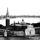 Church of San Giorgio Maggiore graphic pen drawing, Venice, Italy by georgelim