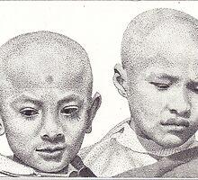 Novice Monks, Kathmandu, Nepal, Ink Drawing by RIYAZ POCKETWALA