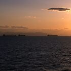 Cargo ships in the Saronic Gulf by Ian Mac