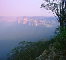 Bush Fire Haze at Dusk - Blue Mountains NSW,  by graphicscapes