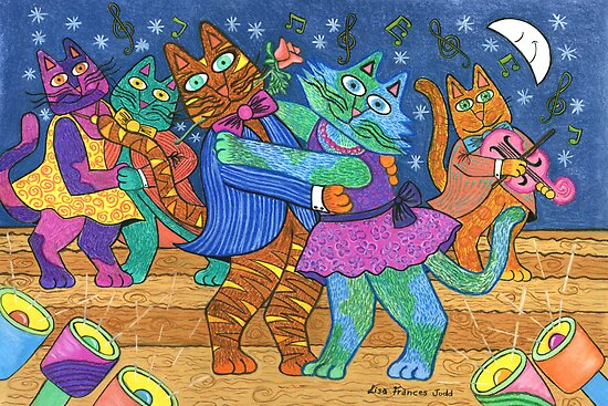&#x27;Cracked Cats&#x27; Go Dancing by Lisa Frances Judd ~ Original Australian Art