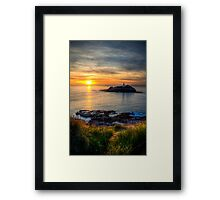 Godrevy Lighthouse at Sunset Framed Print
