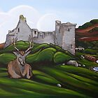Stag at Lochranza Castle by Jim Moore
