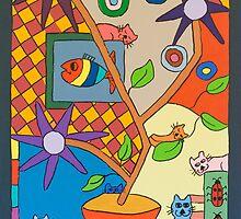 Checkered Cat  by Carey Scott