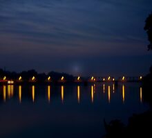 Lights Over the Delaware  river by Rick  Todaro
