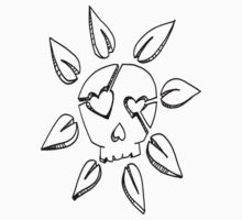 Black and white skull flower by kimmykat