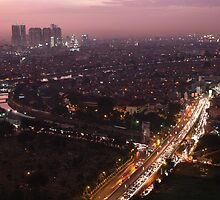 Night descends over central Jakarta by Tim Coleman