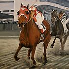 Figurative Painting - Match Race, Seabiscuit Vs. War Admiral - 16 x 20 Oil, Sold by Daniel Fishback