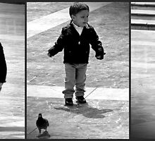 Triptych...I'm not afraid of big bad Pidgeons anymore by Berns