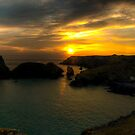 Kynance Cove at Sunset Panoramic by Simon Marsden