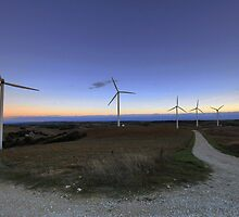 Wind turbine at dawn (panoramic) by Gillou
