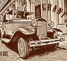 Vintage old classic car on postcard by leksele