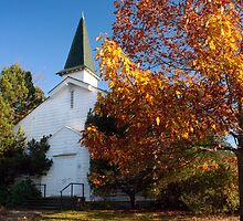 Old White Church in Autumn by Stacey Lynn Payne