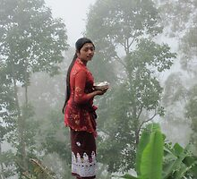 Balinese girl at Mt Agung - Bali, Indonesia by Nupur Nag