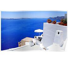 Relaxing at Santorini Poster