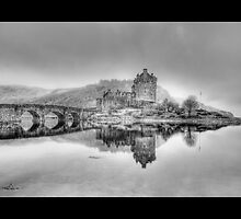 Eilean Donan Castle in Scotland (Bordered) [Black & White] by Chad Kruger